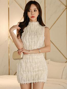 Stand Collar Tassels Bodycon White Dress