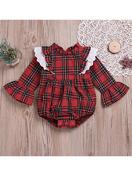 Plaid Lace Detail Flare Sleeve Rompers