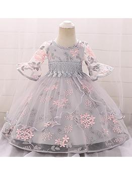 Beaded Gauze Flare Sleeve Princess Dresses