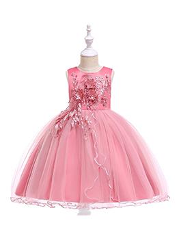 Euro Stereo Flower Fluffy Dresses For Girls