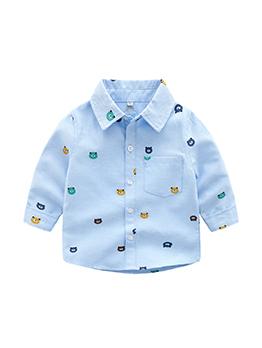 Cute Bear Spread Neck Boys Shirt