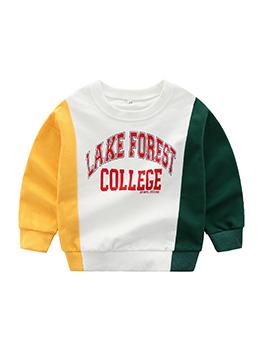 Spring Patchwork Letter Baby Sweatshirt