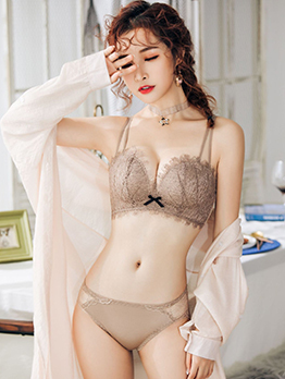 Lace Detail Wire Free Bra Set For Women