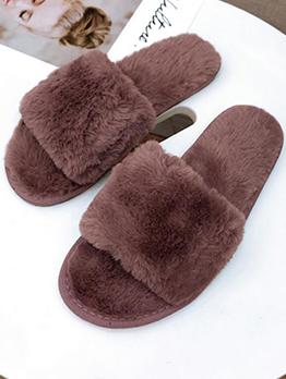 Fashionable Open Toe Slide Fur Slippers