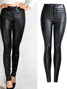 Euro Hot Sale Lace Up Black Pu Pencil Pants