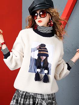 High Neck Printed Tassels Beaded Sweatshirt