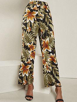 Spring Printed Wide Leg Long Pants