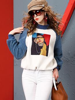 Vintage Color Block Printed Sweatshirt