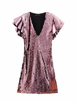 Chic Ruffle V Neck Sequin Dress