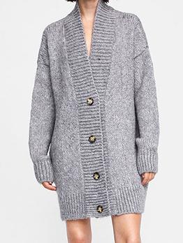 Single-Breasted V Neck Knit Long Cardigan