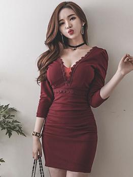 V-Neck Patchwork Ruched Wine Red Dresses