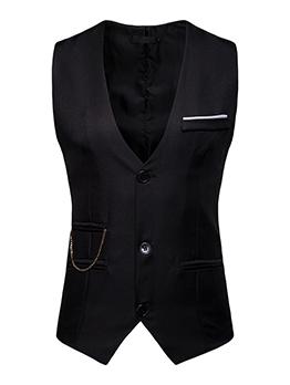 Euro Single-Breasted V Neck Solid Waistcoat