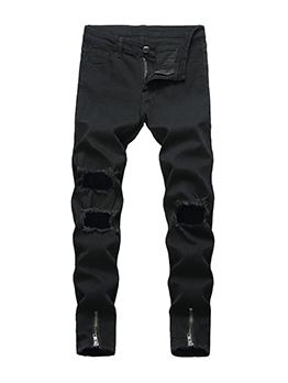 Fashion Worn Out Zip Black Jeans For Men