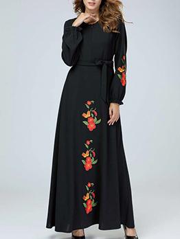Muslim Binding Bow Embroidery Womens Black Maxi Dress