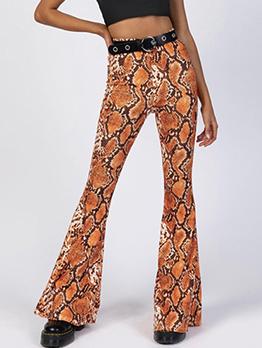 Fashion High Waist Snake Printed Flare Pants