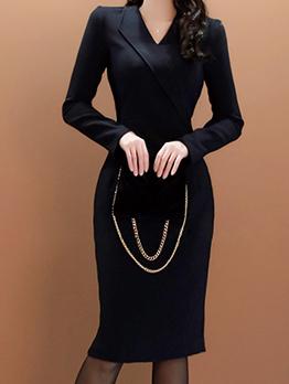 V Neck Black Fitted Work Dress