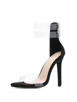Sexy Buckle Belt Clear Thin Heel Sandals