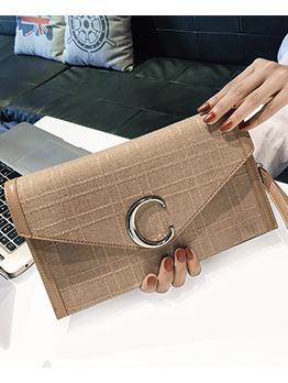 Minimalist Letter Hasp Zipper Clutch Bags
