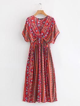 V Neck Bat Sleeve Print Long Maxi Dress
