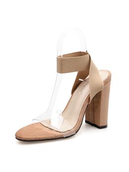 Pvc Elastic Belt Chunky Heel Pump Sandals