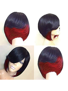 Ombre Color Inclined Bang Short Wholesale Synthetic Wigs