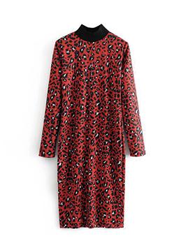 Stand Collar Leopard Print Dress