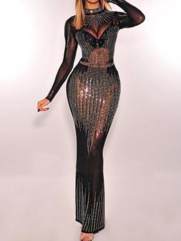 Mock Neck Sequined Hot Drilling Evening Dresses
