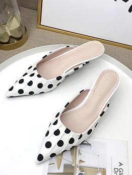 Spring Polka Dots Kitten Heel Pointed Flats