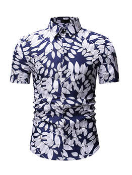 Leaves Printed Fitted Short Sleeve Shirt