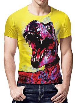 Dinosaur 3D Printing Crew Neck T Shirts
