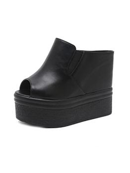 Simple Design Black Platform Wedges Slippers