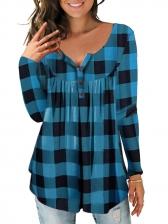 Causal Printing Button Irregular Woman T-Shirt