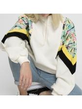 Stylish Printing Patchwork Zipper White Loose Sweatshirt