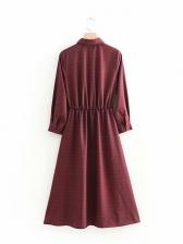 Check Turndown Collar Single-breasted Shirt Dress