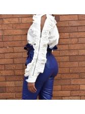 Chic Zipper Ruffles Patchwork White Blouse