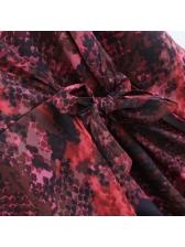 Binding Bow V Neck Animal Print Dress