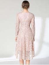 Graceful Euro Style V Neck Lace Dress