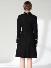 Lace Contrast Color Turndown Collar Elegant Long Sleeve Dresses