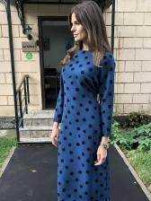 Chic Polka Dot Tie Wrap Long Sleeves Dress