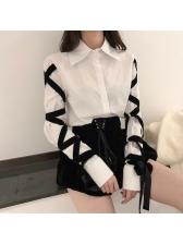 Stylish Ribbon Lace Up White Blouse
