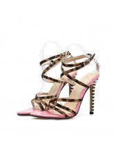 Fashionable Leopard Print Thin Heel Strappy Sandals