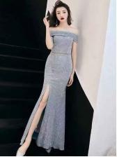Glitter Off The Shoulder Evening Dress With Slit