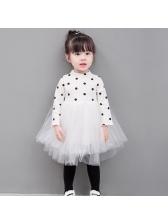 Knitted Polka Dot Patchwork Gauze Girl T-shirt Dresses