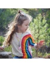 Rainbow Print Tassels Crew Neck Baby Girls Sweatshirts