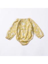 Casual Flower Print Long Sleeve Baby Girls Onesies