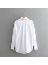 Chic Turndown Collar Long Sleeves Women White Blouse