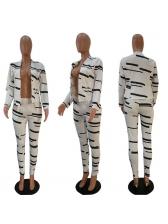 Casual Contrast Color Cardigan 2 Piece Trouser Sets