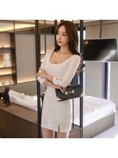 OL Style Slit White Bodycon Dress