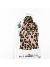 Backless Leopard Print Halter Tank