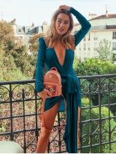 V-neck Asymmetrical Draping Velvet Long Sleeve Dress